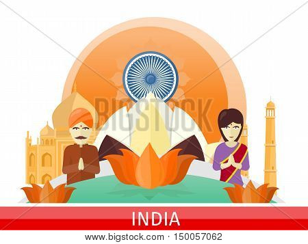 India tourism poster design with attractions. Time to travel. India landmark. Indians in traditional dress. Taj Mahal and lotus sign. India travel poster. Travel composition with famous landmarks.