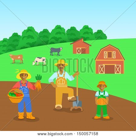 Farming black family standing in farm field. Flat vector background. Mother with vegetables, father with a shovel, son with pumpkin. Countryside landscape with barn and cows. Parents with kid