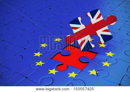 Great britain national flag against missing piece of jigsaw puzzle