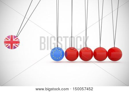 Great britain national flag against composite image of red newtons cradle