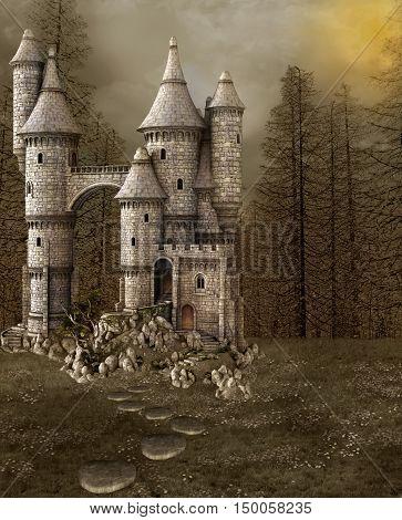 Fantasy illustration of a fairy tale castle