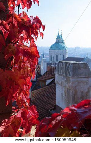 View of baroque Saint Nicholas church in Mala Strana part of Prague