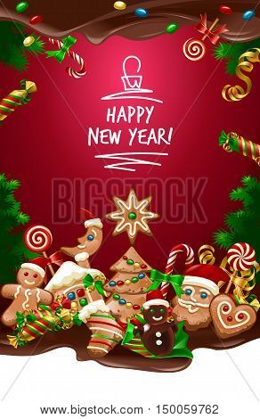 Vector illustration Christmas sweet background with candy and cookies. Frame made of sweets.