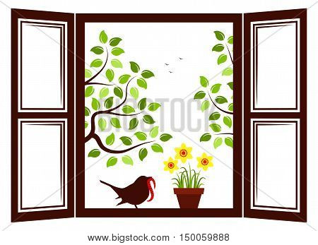 vector daffodils in pot and bird in the window and trees outside the window