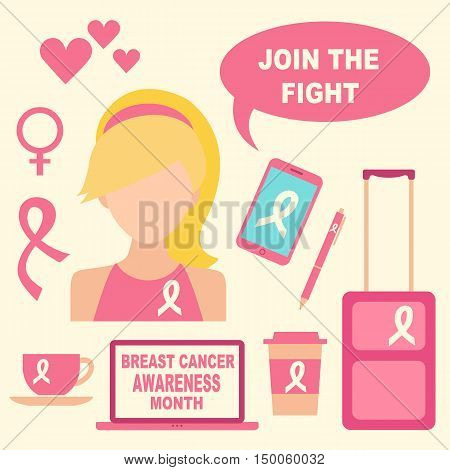 Breast Cancer Awareness month. Woman wearing ribbon and accessories with ribbon. Join the fight