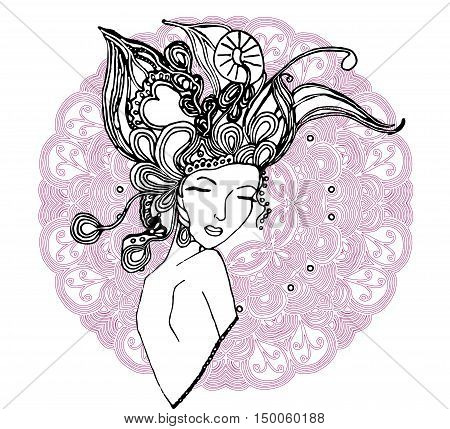 Vector young pretty girl with doodle hairs. Woman's face. Can be used as adult coloring book, coloring pages, card, invitation.
