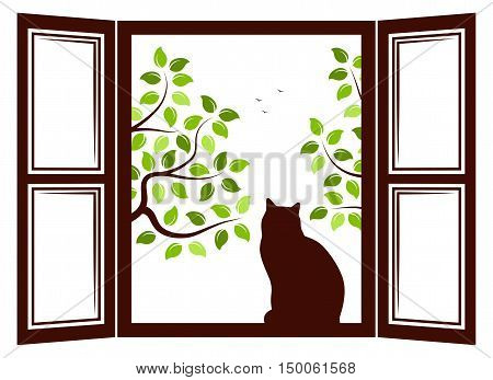 vector cat in the window and trees outside the window