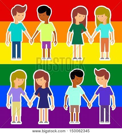 Love marriage couple of two women or girls and two men. Same-sex marriage. Vector illustration image LGBT International flag (lesbian gay bisexual). Flat style