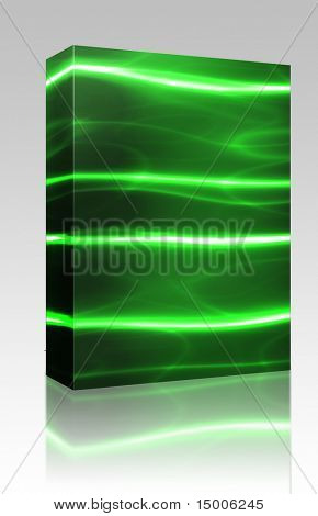 Software package box Glowing laser lines modern communications technology background