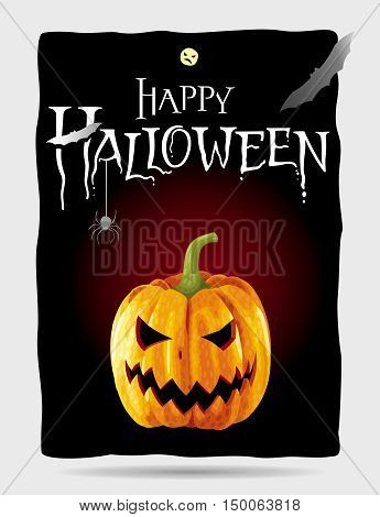 Happy Halloween black poster with yellow pumpkin