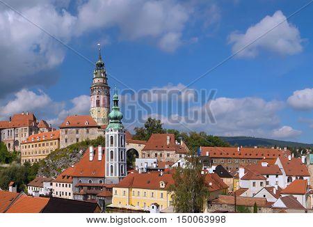 Panorama of town Cesky Krumlov with Castle Tower and Saint Vitus Church. South Bohemia Czech Republic.