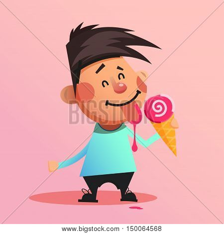 Happy young boy eating and licking ice cream