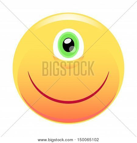 Smiley. Cyclops. One eye and a smile. Vector illustration isolated on white background.