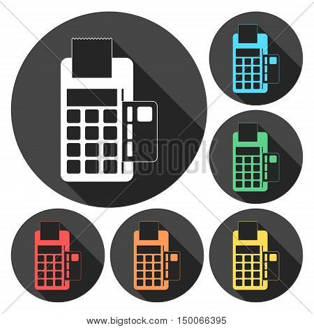 Dataphone and ticket icon vector illustrati with long shadow