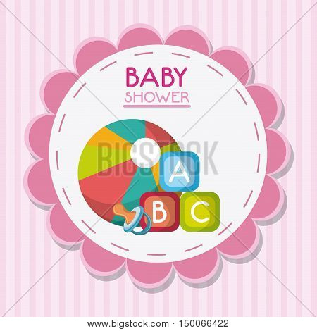 Baby pacifier ball and toy inside flower seal stamp. Baby shower and childhood theme. Colorful design. Vector illustration