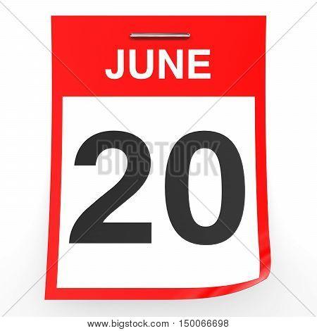 June 20. Calendar On White Background.