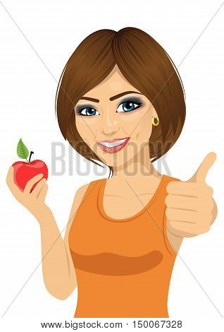 beautiful woman with red apple showing thumbs up isolated ober white background