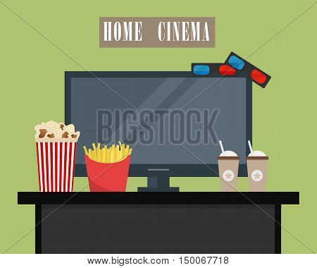 Home cinema. There is home cinema, 3D glasses, popcorn, french fries and coffee in the picture. Watch movies online concept. Vector illustration