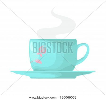 A set of blue circle with a blue saucer isolated on white background. Hot steam from a cup. Vector illustration.