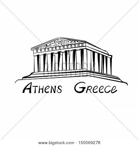 Travel Greece sign. Athens famous landmark building with hand drawn lettering Athens Greece.