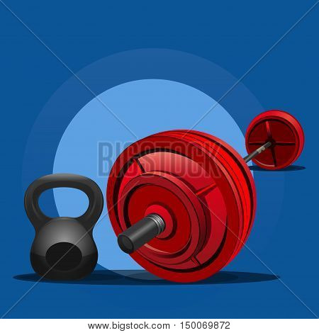 Weight and rod. Weightlifting. Items for bodybuilding exercises. Vector icon, illustration for sports club