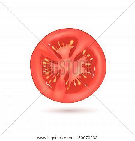 Tomato sliced. Vegetable logo. Vector illustration of natural product slice tomato.