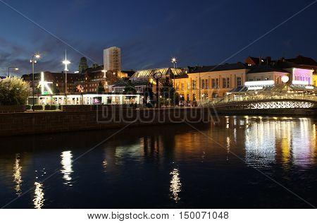 details of Beautiful night scene in Malmo Sweden