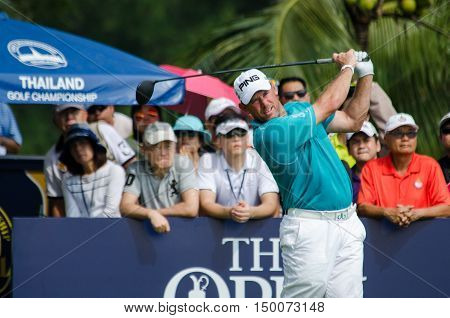 CHONBURI - DECEMBER 13 : Lee Westwood of England player in Thailand Golf Championship 2015 at Amata Spring Country Club on December 13 2015 in Chonburi Thailand.