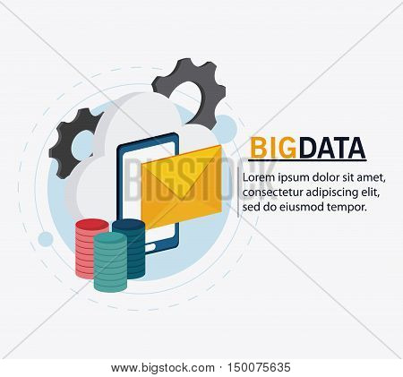 Smartphone cloud gears and envelope icon. Big data center base and web hosting theme. Colorful design. Vector illustration