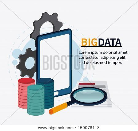 Smartphone gears document and lupe icon. Big data center base and web hosting theme. Colorful design. Vector illustration