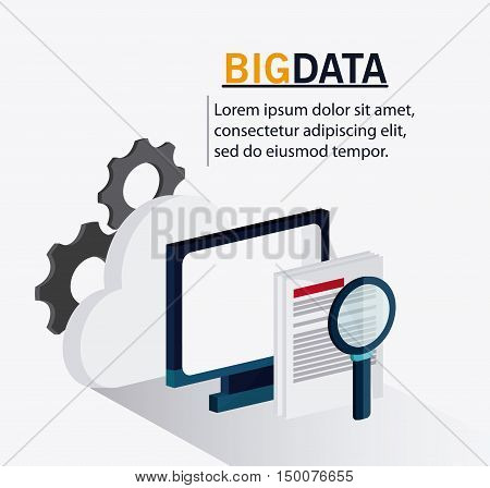 Document computer cloud gears and lupe icon. Big data center base and web hosting theme. Colorful design. Vector illustration