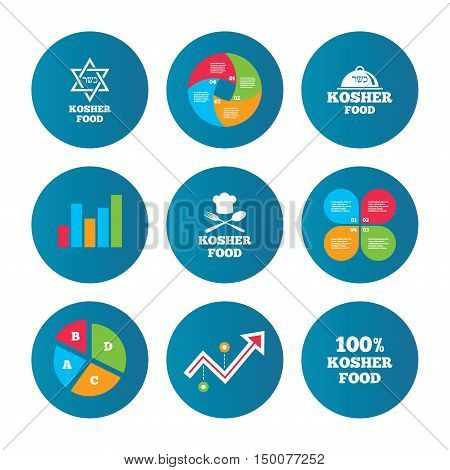Business pie chart. Growth curve. Presentation buttons. Kosher food product icons. Chef hat with fork and spoon sign. Star of David. Natural food symbols. Data analysis. Vector