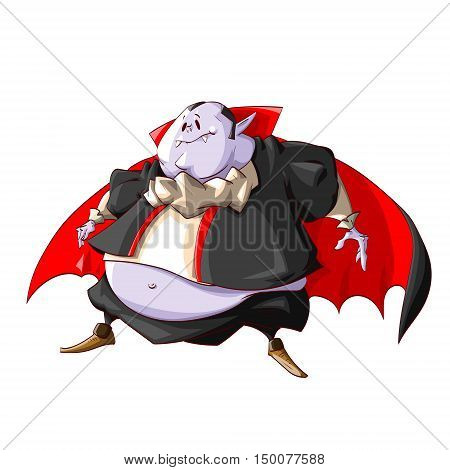 Colorful vector illustration of a fat vampire with purple skin black clothes and big belly.