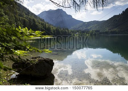 Mountain Lake Vorderer Langbathsee In Salzkammergut, Upper Austria