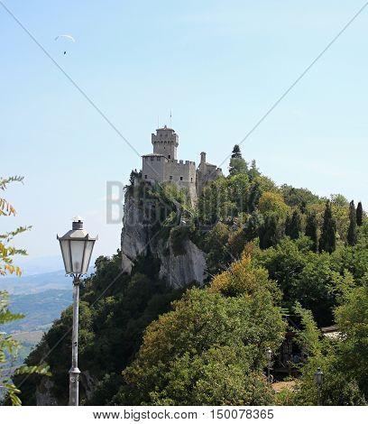 Castle in San Marino. Old Castle. Rusty castle.