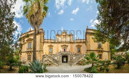 Panorama of the Villa Palagonia is a patrician villa in Bagheria, 15 km from Palermo, in Sicily, southern Italy. Villa is one of the earliest examples of Sicilian Baroque.