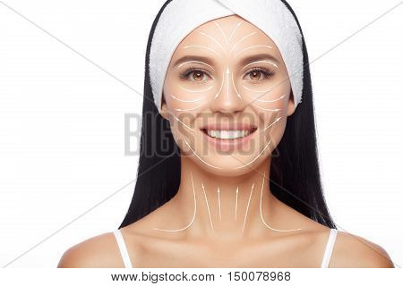 Closeup Happy Woman in Hairband, her Face with a Perfectly Clean Skin. Happy Woman after Bath with Clean Perfect Skin. Skin Care, Cosmetics and Makeup Concept.
