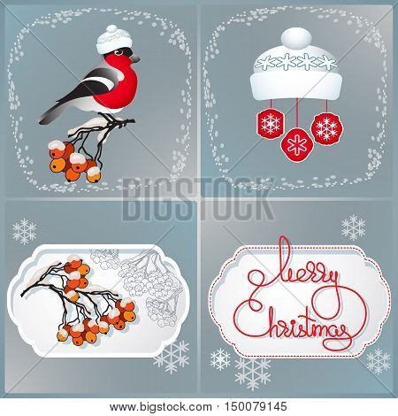 Vector illustration of bullfinch, hat, rowan branches and handwritten words Merry Christmas.  Vector winter greeting cards. Template for your design.