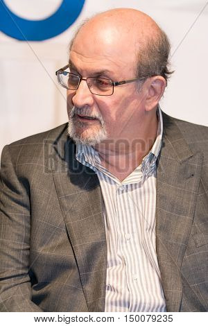 Obidos Portugal. 30 September 2016. British writer Salman Rushdie in Obidos at a conference at the FOLIO International Literary Festival of Obidos. Obidos Portugal. photography by Ricardo Rocha.