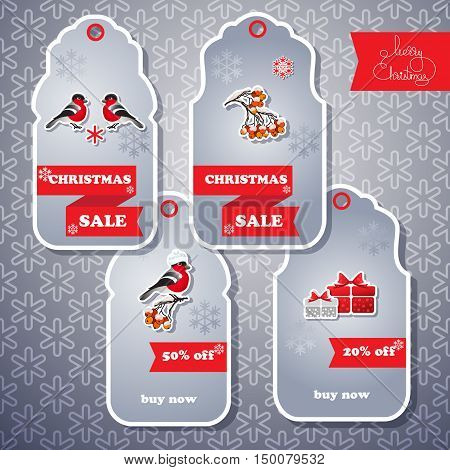 Vector set of sale tags. Includes bullfinch, gifts,  rowan, snowflake seamless background  and handwritten words Merry Christmas. Xmas sale offer. Sale stickers with winter emblem. Christmas collection of labels and cards.