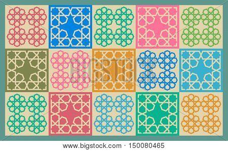 A Colorful Arabesque Motif Tiles Quilt Rug