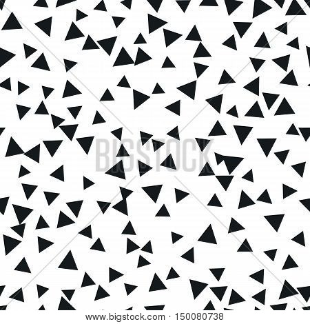 Triangle geometric background. Vector illustration for modern abstract design. Trendy decoration pattern template. Explosion burst bang confetti. Black white color. Seamless texture pattern