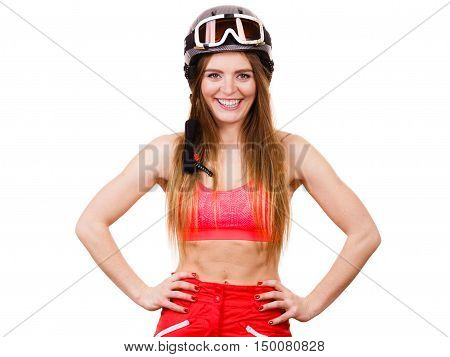 Female Skier With Arms On Hips.