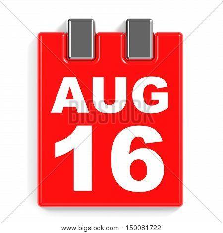 August 16. Calendar On White Background.