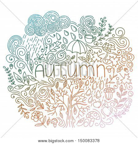 Autumn seasonal postcard. Doodle fall card with word autumn, floral elements, rain cloud and drops, tree fall, branches and leaves, acorn, umbrella, mushrooms, curly lines. Vector illustration.
