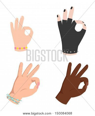 Ok hands success gesture  Silhouette of hands showing symbol of all ok