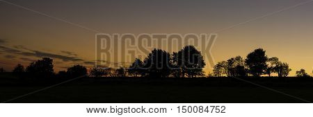 Silhouette of trees in mountains with sunset
