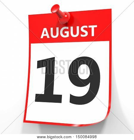 August 19. Calendar On White Background.
