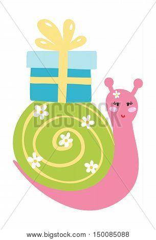 unny gastropod snail cartoon mollusk vector holding gift box
