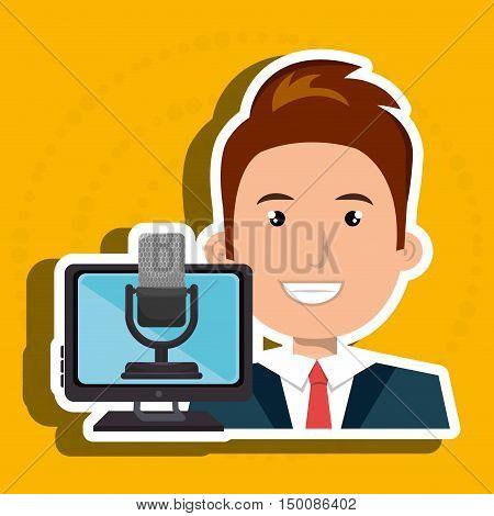 man cartoon speak microphone screen pc vector illustration